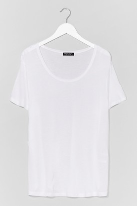 Nasty Gal Womens Soft Spot Scoop Neck Relaxed Tee - Blue - S