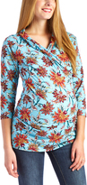 Glam Blue Floral Ruched Maternity/Nursing Top