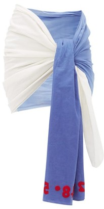 Kilometre Paris - Morroco Embroidered Cotton-khadi Sarong - Blue White