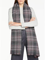 John Lewis Cashmink Double Faced Check Wrap, Black/Pink