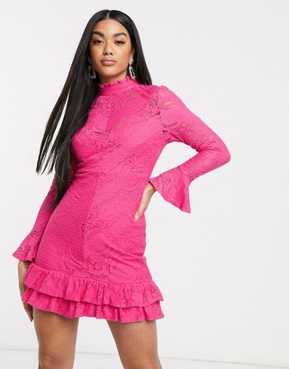 Love Triangle high neck lace mini dress in hot pink