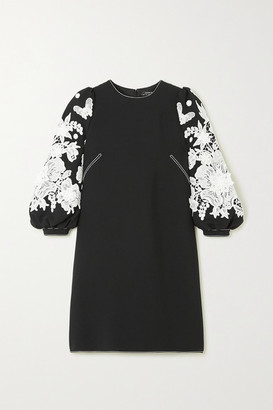 Andrew Gn Guipure Lace-trimmed Cady Mini Dress - Black