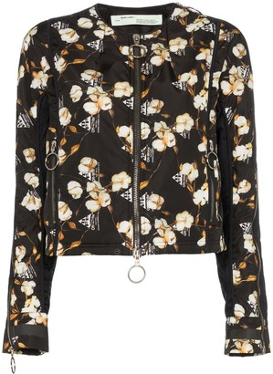 Off-White Floral Printed Bomber Jacket