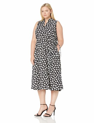 Anne Klein Women's Size Plus Drawstring MIDI Dress