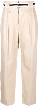 Sandro Paris Wide Leg Belted Trousers