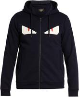 Fendi Hooded Bag Bugs-appliqué zip-through sweatshirt