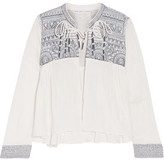 Chelsea Flower Daisy Embroidered Cotton-Gauze Jacket