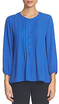 CeCe Henley Neck Long Sleeve Solid Crepe Pintuck Blouse