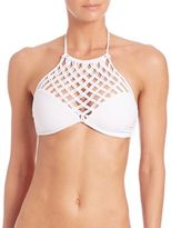 Mikoh Swimwear Macrame Halter Bikini Top