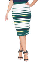 ELOQUII Plus Size Variegated Stripe Pencil Skirt