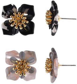 BIJOUX BAR Bijoux Bar 2 Pair Black Flower Earring Set