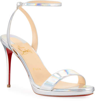 Christian Louboutin Loubi Queen Laser Red Sole Holographic Sandals