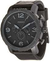 Fossil Nate Leder Chronograph Watch Schwarz