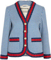 Gucci Striped Houndstooth Wool-blend Jacket - Blue