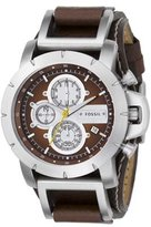 Fossil Men's JR1157 Leather Strap Analog Dial Chronograph Watch