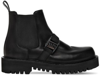 Valentino 45mm Metal Logo Leather Boots