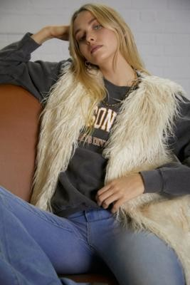Free People Starlight Mongolian Vest - White XS at Urban Outfitters