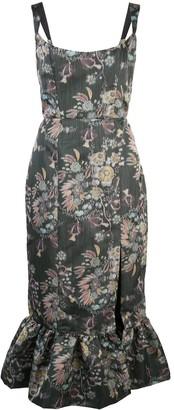 MARKARIAN Floral Shift Midi Dress