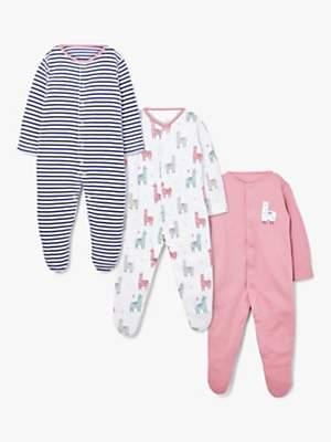 John Lewis & Partners Baby Llama Sleepsuit, Pack of 3, Multi