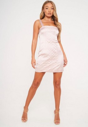Missguided Blush Satin Quilted Mini Dress