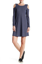 Bobeau Long Sleeve Striped Cold Shoulder Dress