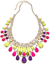 Blu Bijoux Gold with Crystal Yellow Purple and Red Beads Bib Necklace