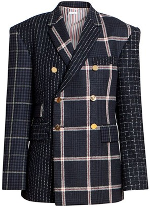 Thom Browne Fun Mix In Tattersall Check Harris Tweed Double Breasted Blazer