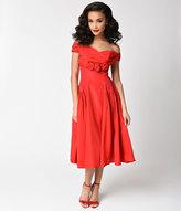 Vintage 1950s Red Roses Taffeta Off Shoulder Swing Dress