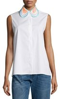 Christopher Kane Sleeveless Embroidered-Collar Blouse, White