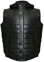 Franchise Club Men's Franchise Club Geo Hooded Lambskin Leather Vest
