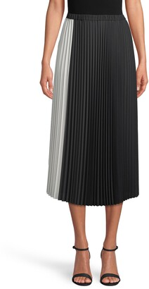 Anne Klein Colorblock Pleated Midi Skirt
