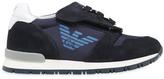 Armani Junior Logo Suede & Neoprene Velcro Sneakers