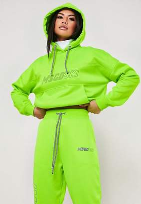 Missguided Msgd Ski Lime Co Ord Cropped Turtle Neck Hoodie