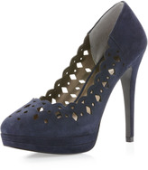 Pelle Moda Umbros Perforated Pump, Midnight Blue