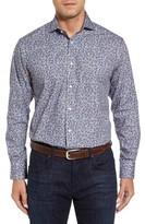 Thomas Dean Men's Regular Fit Floral Print Sport Shirt
