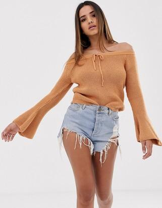 Asos Design DESIGN off shoulder jumper with flared sleeve-Beige