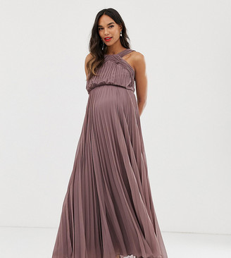 Asos DESIGN Maternity pleated bodice halter maxi dress-Purple