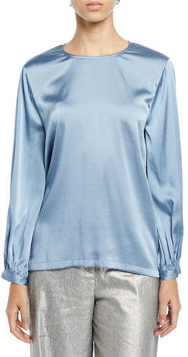Eileen Fisher Ruched-Cuff Silk Charmeuse Blouse