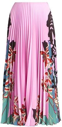 Valentino Orchid Jungle-Print Silk Pleated Skirt