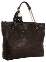 black leather 'Amalia Quilted' ribbon chain bag