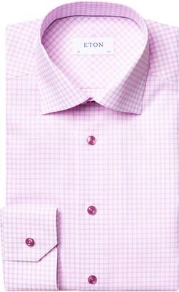 Eton Trim Fit Check Dress Shirt