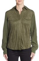 Sam Edelman Lana Zip Cold-Shoulder Shirt