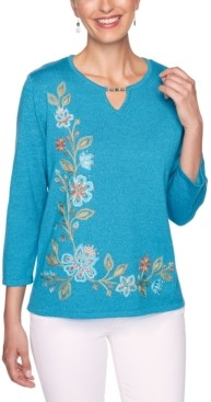 Alfred Dunner Petite Colorado Springs Floral Asymmetric Embroidered Sweater