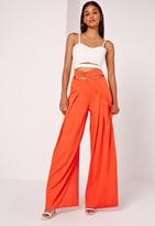 Missguided Wide Leg Buckle Waist Detail Trousers Orange