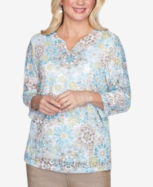Alfred Dunner Three Quarter Sleeve Medallion Lace Print Knit Top