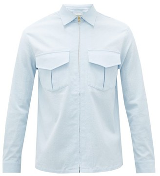 Casablanca - Patch-pocket Cotton-blend Seersucker Jacket - Mens - Blue
