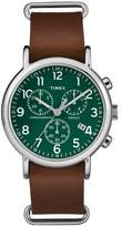 Timex Weekender Slip Thru Leather Strap Chronograph Watch - Brown/Green TW2P97400JT