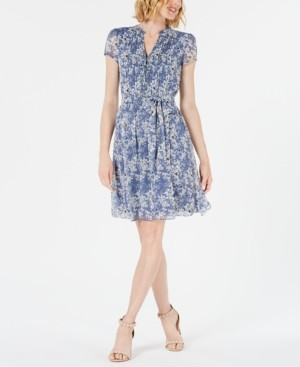 MSK Petite Printed Pleated Fit & Flare Dress