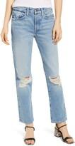 Edwin Cai High Waist Nonstretch Ripped Straight Leg Jeans