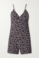 Thumbnail for your product : Norma Kamali Floral-print Stretch-jersey Playsuit - Black